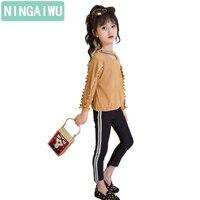 Kız sonbahar kıyafeti yeni çocuklar suits setleri uzun kollu büyük çocuk giyim bahar kız çocuk kim iki parça konfeksiyon moda hareketi