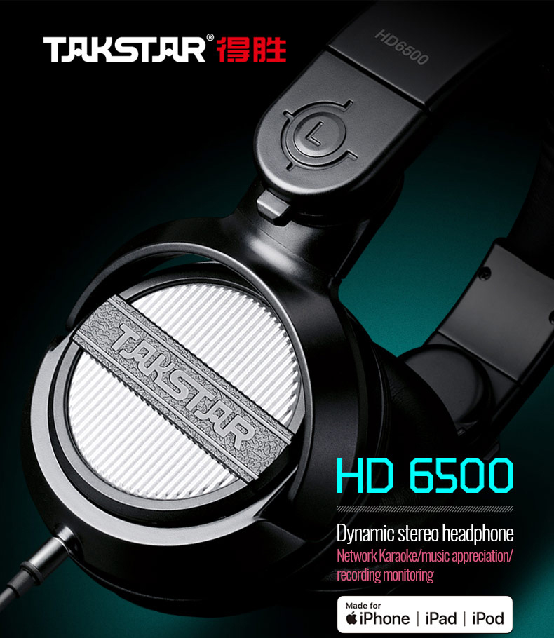 Takstar HD 6500 dynamic stereo headphone Pure and clear sound use for listening music and recording