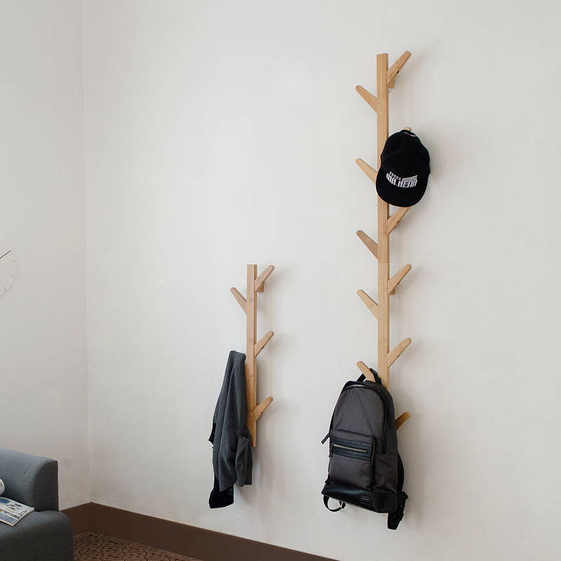 Hot Rushed New Prateleira Wall Shelf Tree Shape Bamboo Coatrack Cap Othes Hook Hanger For Creative