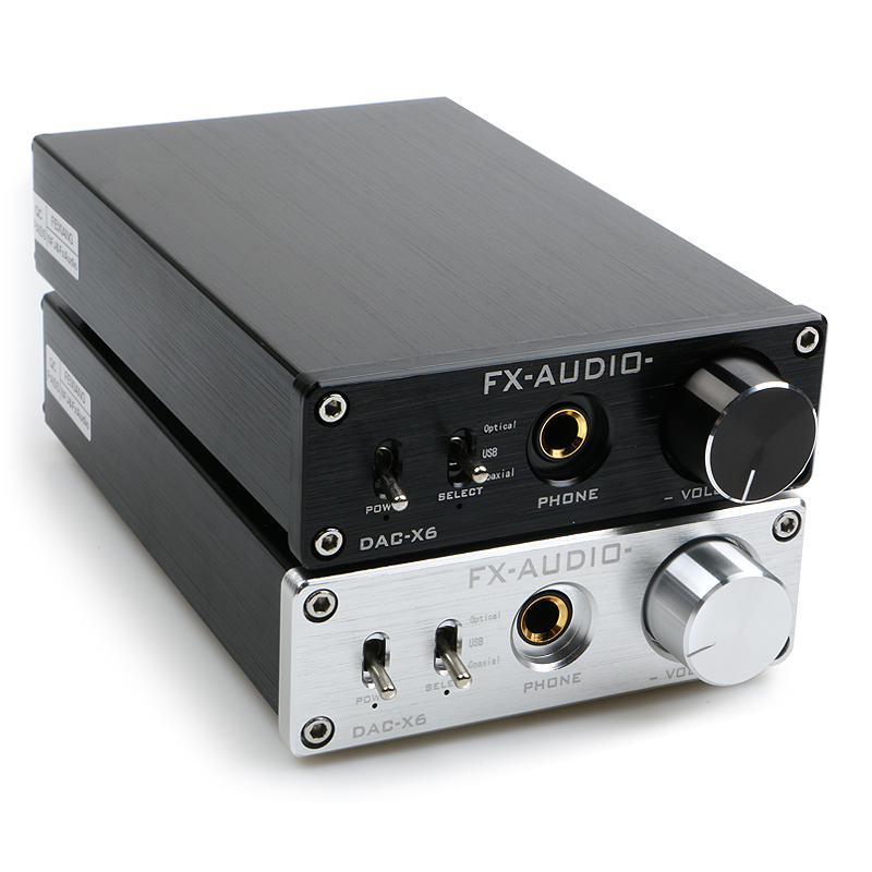 FX-AUDIO DAC-X6 MINI HiFi 2.0 Digital Decoder Audio Input DAC USB / Coaxial / Output Optik RCA / Amplifier 24Bit / 96KHz DC12V
