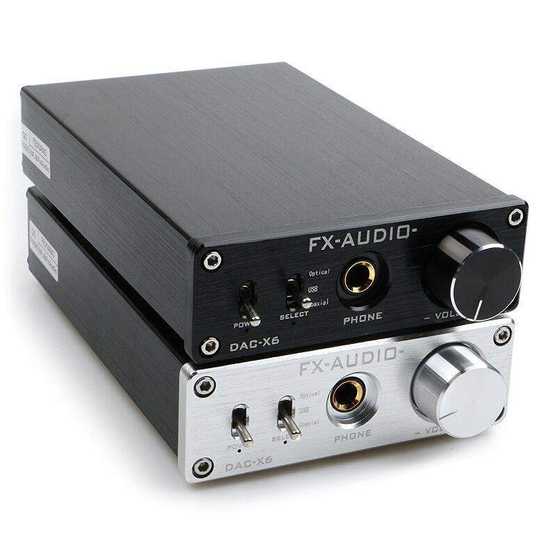 NOVA FX-AUDIO DAC-X6 MINI HiFi 2.0 Decodificador De Áudio Digital De Entrada DAC USB/Coaxial/Óptica de Saída RCA/Amplificador 24Bit/96 khz DC12V