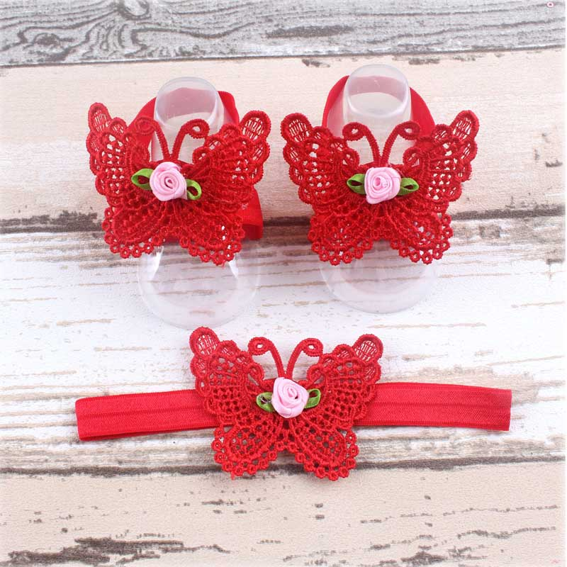 1 Set Fashion Boutique DIY Butterfly Elastic Headbands And Anklet  For Toddler Baby Children Girls Floral Hair Accessories 10pcs sweet diy boutique bow headbands elastic head band children girl hair accessories headwear wholesale