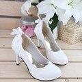 2016 New Candy color Women's pumps Waterproof platform Heels Shoes lace Bow Women Shoes