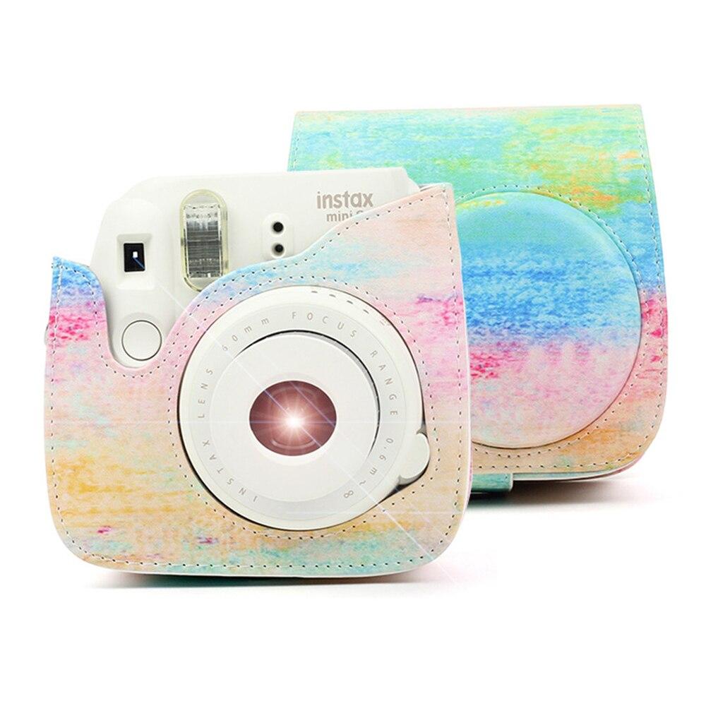 Fujifilm Instax Mini 9 8 8 + Kamera Zubehör Künstler Ölfarbe PU Leder Instant Kamera Schulter Tasche Schutz Abdeckung fall Pouch