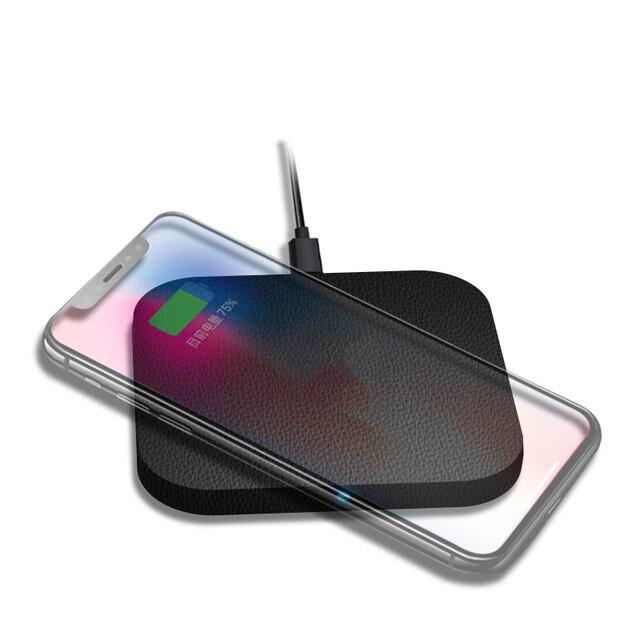 Mixza F01 cuero imán cargador inalámbrico Qi fastfor cargador iphone 8/X para Samsung Galaxy S8 teléfono cargador