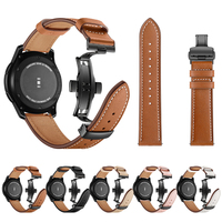 Luxury High Quality Butterfly Buckle Watchband for Samsung Gear S3 Band for 22mm Width Band Cow Genuine Leather Wristband Strap
