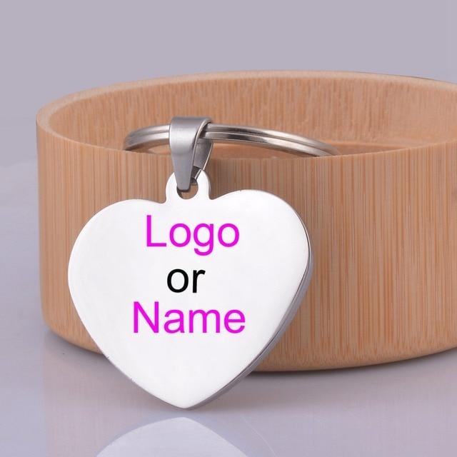 Nome ou Logotipo Gravado Coração ID Chave Anéis Presente Da Corrente Chave  de Aço Inoxidável Personalizado 2ea803fad4