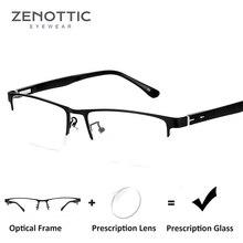edb6b91bca ZENOTTIC Semi montura gafas de sol hombres negro claro miopía Anti azul  lentes Gafas de Metal óptico gafas de Marco BT8036