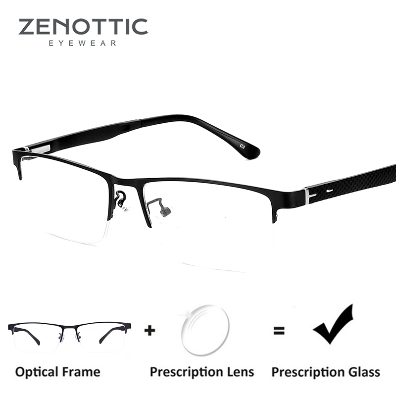 ZENOTTIC Semi Rimless Prescription Glasses Men Clear Myopia Lens Progressive Eyeglasses Optical Glasses Metal Frame Eyewear 8036