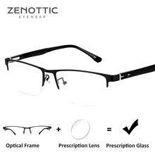 225c7c2dee ZENOTTIC Semi montura gafas de sol hombres claro lentes miopía progresiva  gafas óptica gafas de marco de Metal gafas de 8036