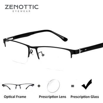 f9dcadc541 ZENOTTIC gafas de prescripción Semi sin montura para hombre lente de miopía  transparente gafas graduales gafas ópticas marco de Metal gafas 8036