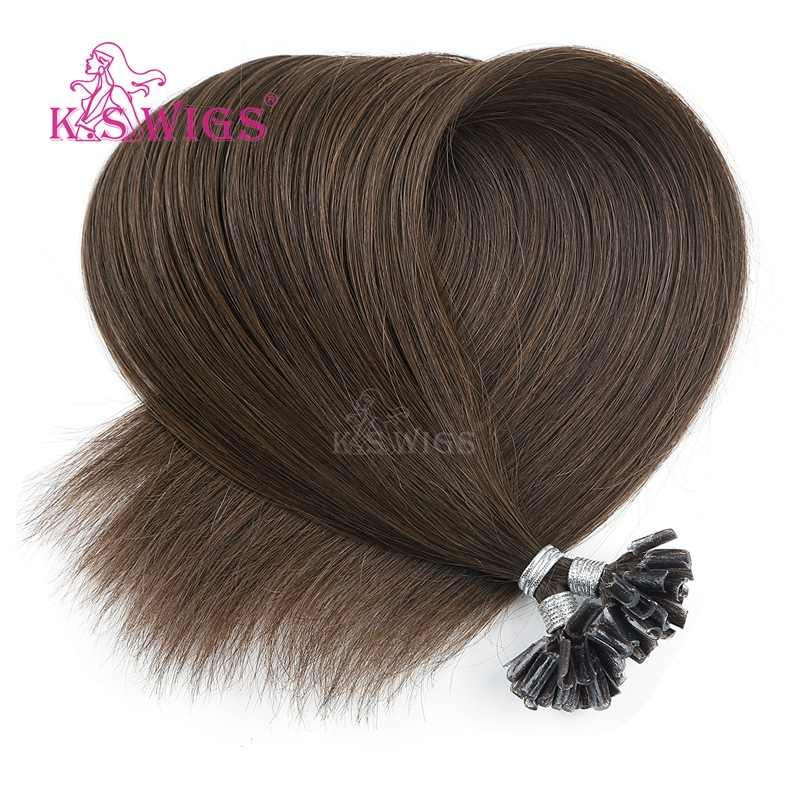 K.S peruki keratyna Pre bonded Capsule Nail U Tip Remy doczepy z ludzkich włosów podwójne rysowane proste włosy Fusion 16 ''20'' 24 ''28''