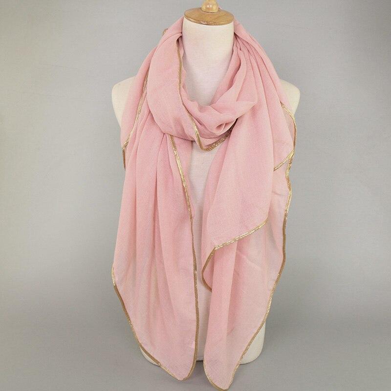 Women's printe plain cotton viscose gold edge shawls hijab summer headband   wrap   muslim muffler 15 color   scarves  /  scarf   180*90cm