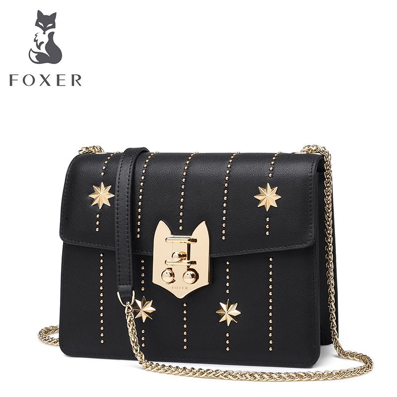 FOXER Split Leather Chain Flap Bag New Design Women Rivet Messenger Bags Women Shoulder Bags Fashion Crossbody Bag fashion new design pu leather lotus wave female chain purse shoulder bag handbag ladies crossbody messenger bag women s flap