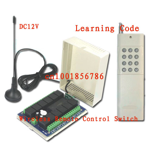 Free shipping 3000M 12V 12CH channel Relay Receiver Transmitter for RFWireless Remote Control Switch System With