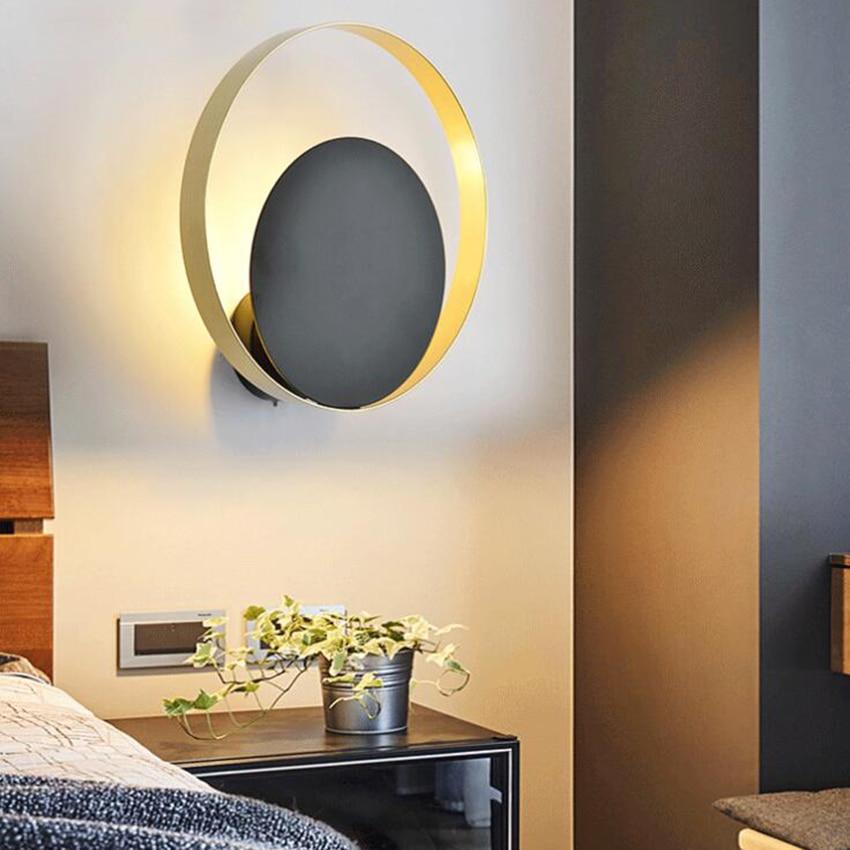 Applique murale moderne LED nordique G9 or noir rond créatif salle de bain miroir luminaire escalier allée chambre chevet applique - 6