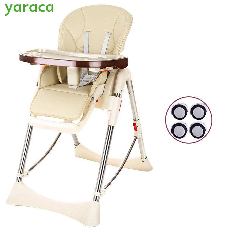 Baby Highchair Foldable High Chair For Kids Adjustable Feeding Chair With PU Leather Cushion Dining Table With Wheels