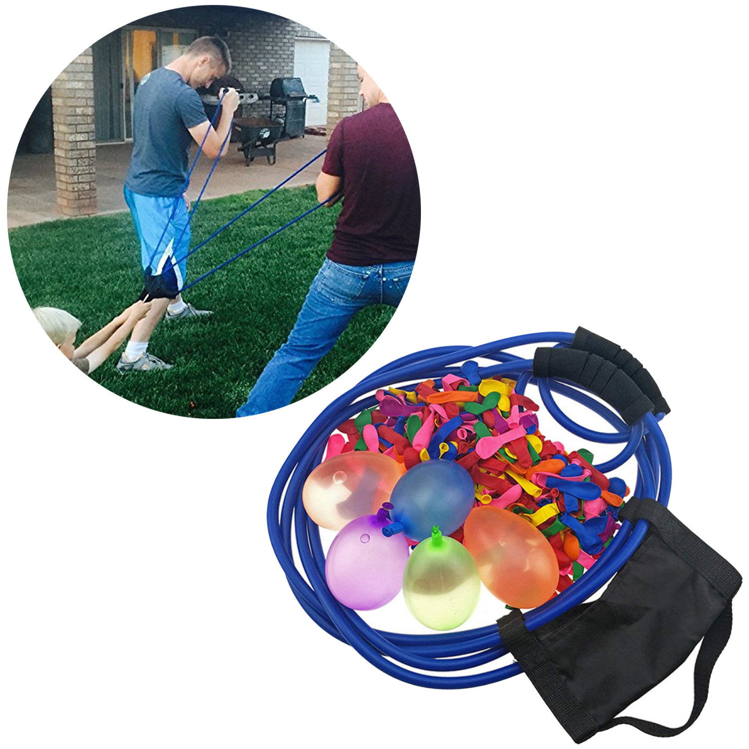 Funny 3 Person Water Balloon Launcher Catapult Slingshot with 100pcs Balloons for Kids Adults Outdoor Games