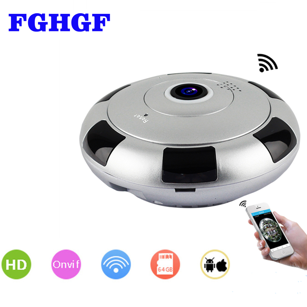 FGHGF 360 Panoramic Wireless IP Camera WiFi 2Megapixel HD Fisheye Lens Wide Angle VR CCTV Home Security Surveillance Camera insta360 air 3k hd 360 camera dual lens panoramic camera compact mini vr camera for samsung oppo huawei lg andriod smartphone