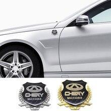 3D Metalen Logo Auto Sticker Voor Chery Tiggo 2 3 5 T11 Qq A3 A5 E3 Eq X1 QQ3EV 3X e5 A1 V5 Arrizo 3 5 7 Embleem Badge Deur Decal