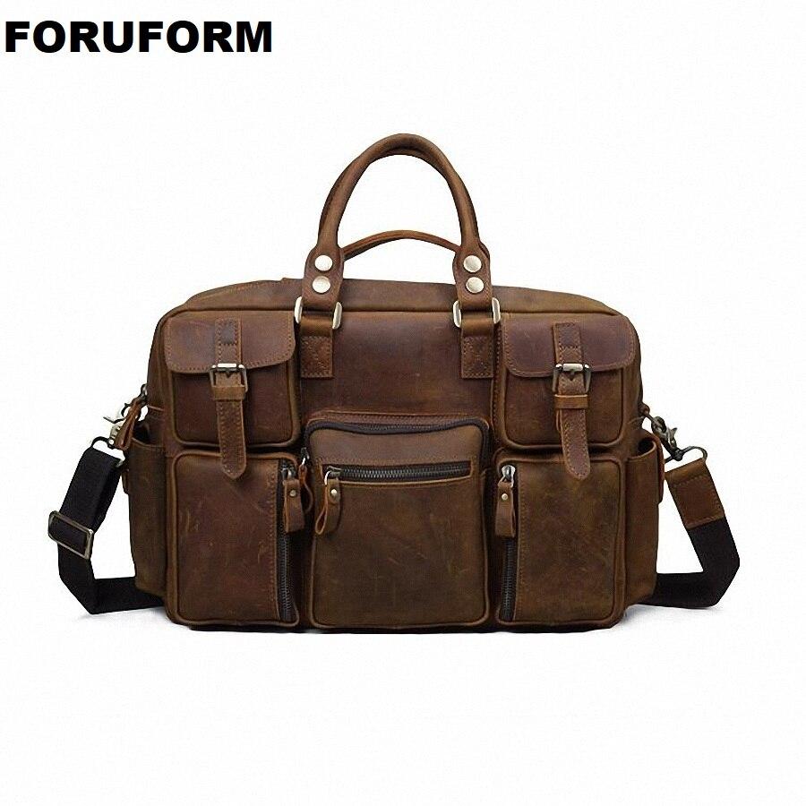 Vintage Crazy Horse Genuine Leather Men Briefcase Business Bag Large Leather Briefcases Men Laptop Case Shoulder Bag LI-2289 цена