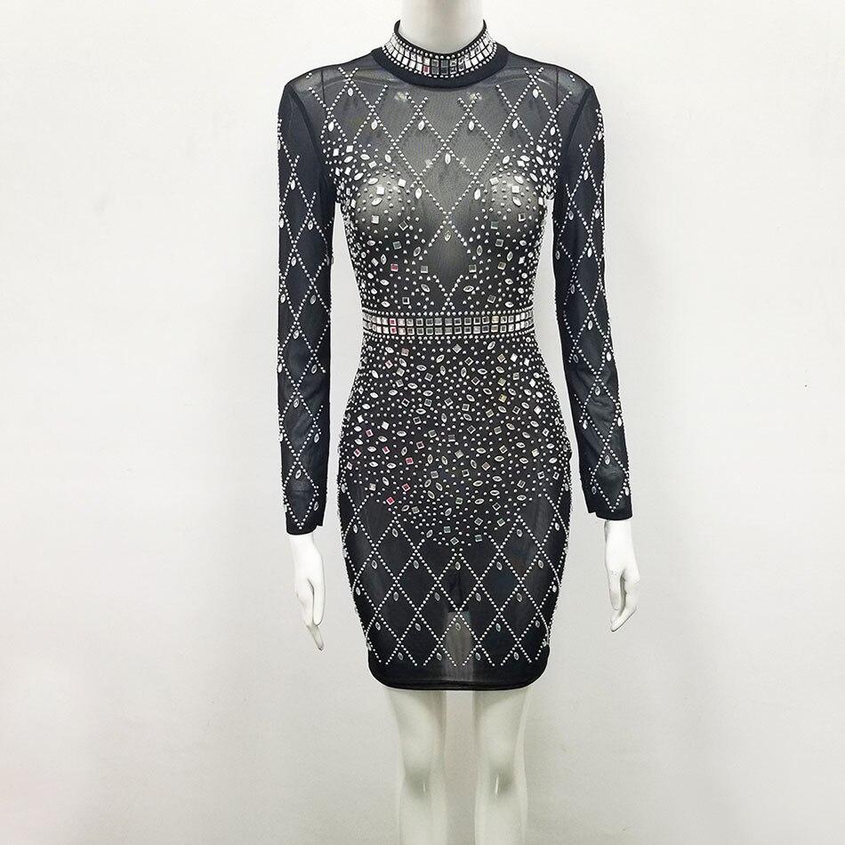 Cristal col roulé à manches longues noir Mini Robe femmes gaine Vestidos De Verano élégant Robe De soirée Robe Femme Vestidos