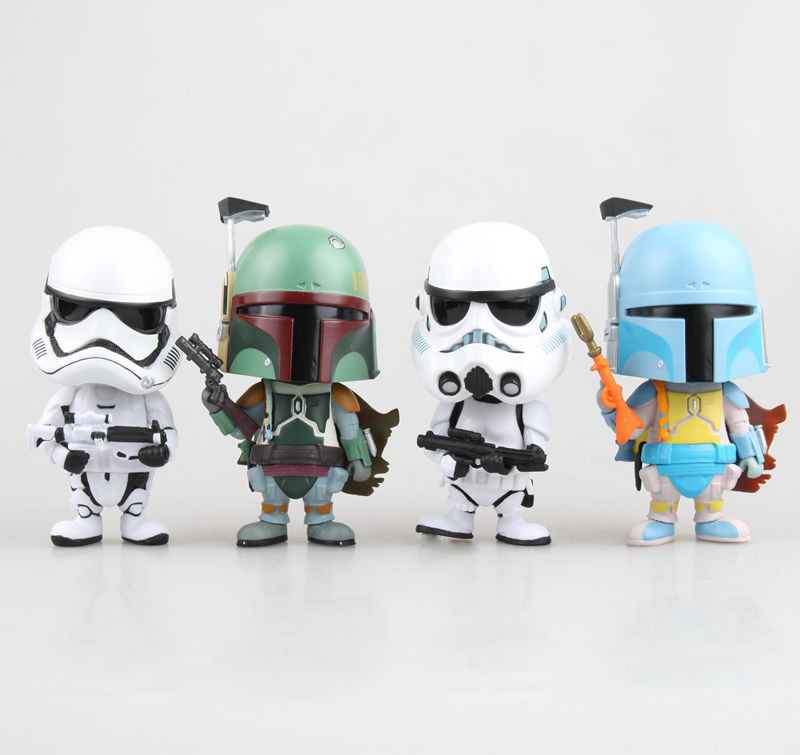 Free Shipping Cute 4 Star Wars Stormtrooper & Boba Fett Bobble Head Shaking Head Toy Model Car Decoration Boxed PVC Figure Doll star wars taiko yaku stormtrooper 1 8 scale painted variant stormtrooper pvc action figure collectible model toy 17cm kt3256