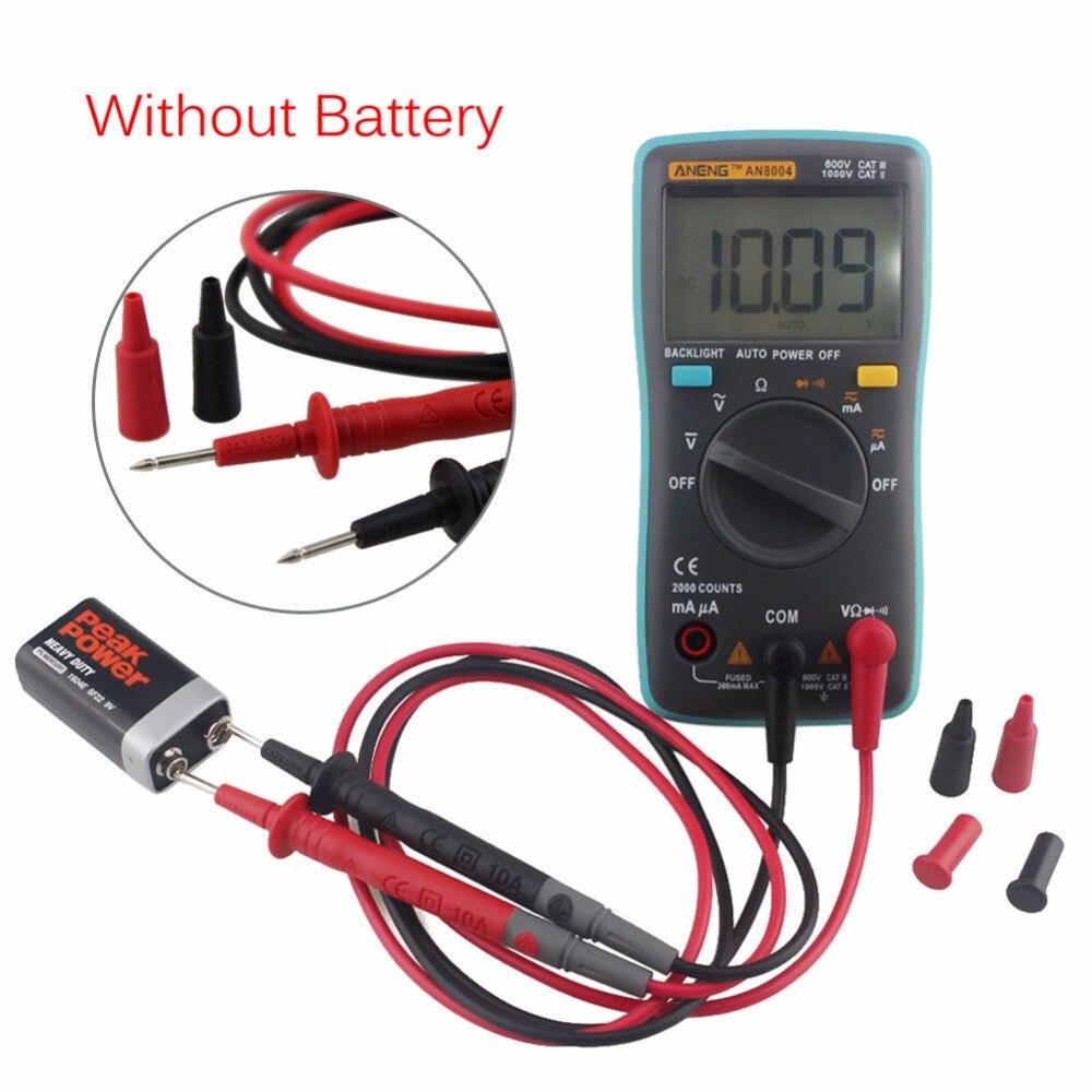 Digital Multimeter Tester Current Voltage AC/DC Ammeter Voltmeter Ohm Meter 2000 Counts Backlight Large LCD Display Multimeter