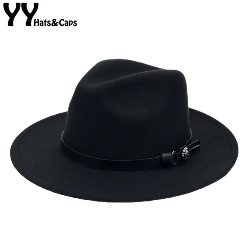 Retro Black Fedora for Men Wool Felt Trilby Hat Gentleman Wide Brim Fashion Panama Jazz Hats