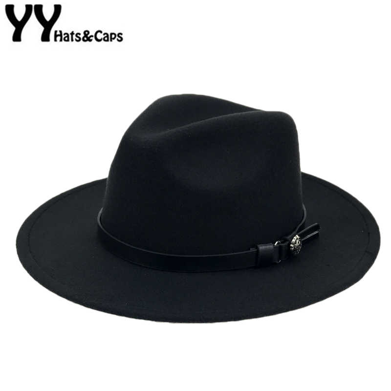 01f679b85 Autumn Winter Wool Felt Fedora Hats with Belt Wide flat Brim Jazz ...