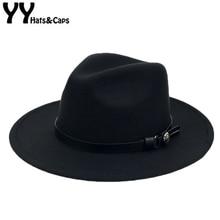 Sombreros de Panamá de lana para hombre y mujer, sombrero de Panamá de lana de invierno, de ala ancha de Color sólido con cinturón, gorros de fieltro, sombrero de Jazz Vintage, gorros Trilby, Iglesia YY18007