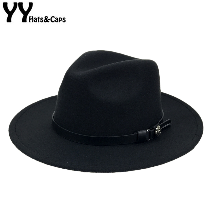 df4697be7 Winter Wool Panama Hats Men Solid Color Wide Brim With Belt Felt CAPS Women  Vintage Jazz hat Vintage Trilby CAPS Church YY18007