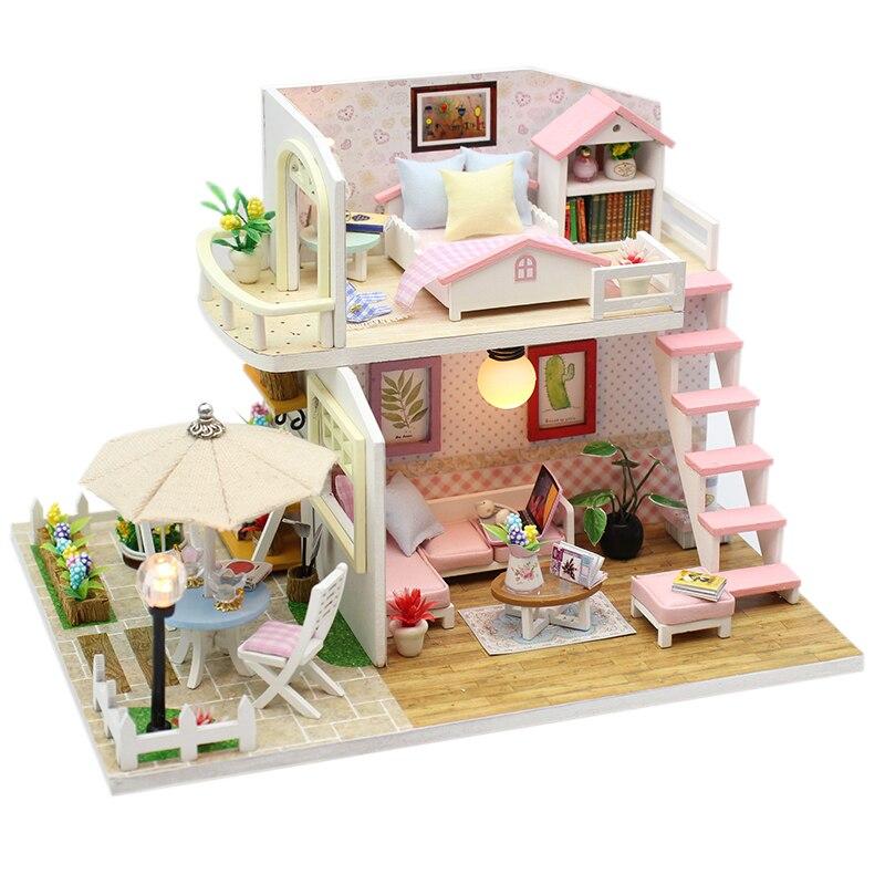 DIY Miniaturas com Mobiliário de Casa De Madeira casa de Boneca DIY Casa Em Miniatura Casa Brinquedos para Crianças Presentes de Aniversário Caixa de Teatro M33