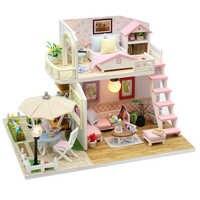 Miniaturas de Casa de madera DIY con muebles Casa en miniatura Casa de muñecas juguetes para niños caja de regalos de cumpleaños teatro M33