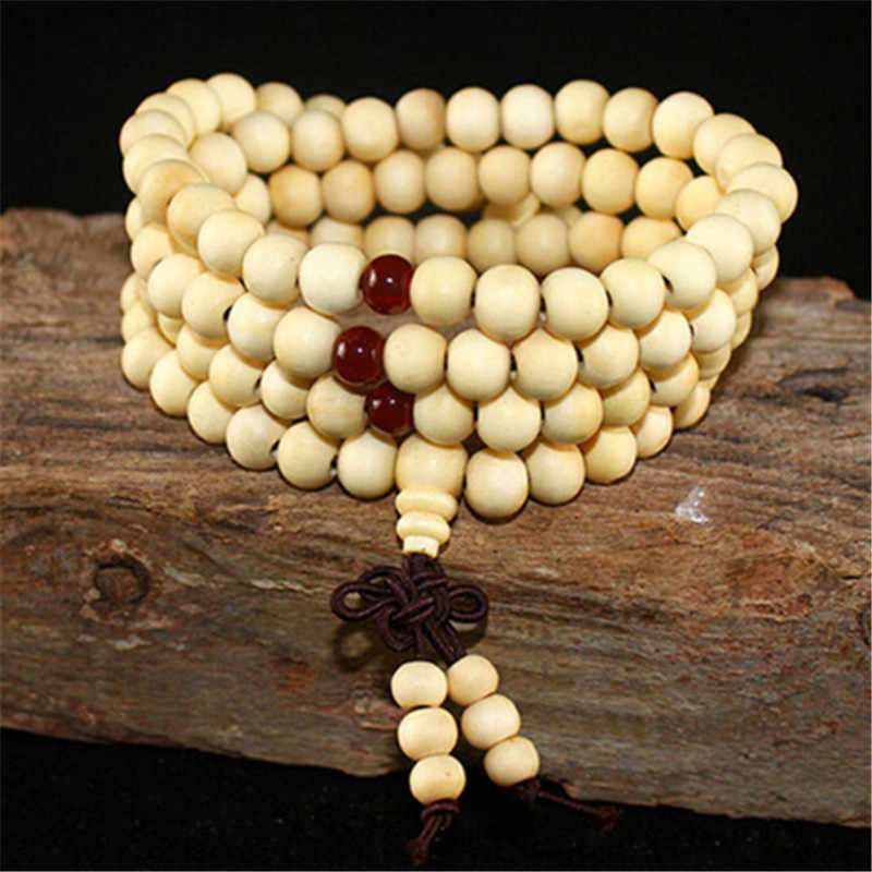 108 Beads Rosary Bracelets Men Women Jewelry Prayer Natural Sandalwood Wood Beaded bracelet homme