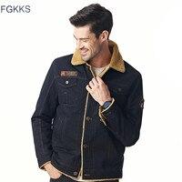 FGKKS 2017 Solid Casual Male Parka Hombre Winter Jacket Men Thick Warm Coat Badge Overwear Plus