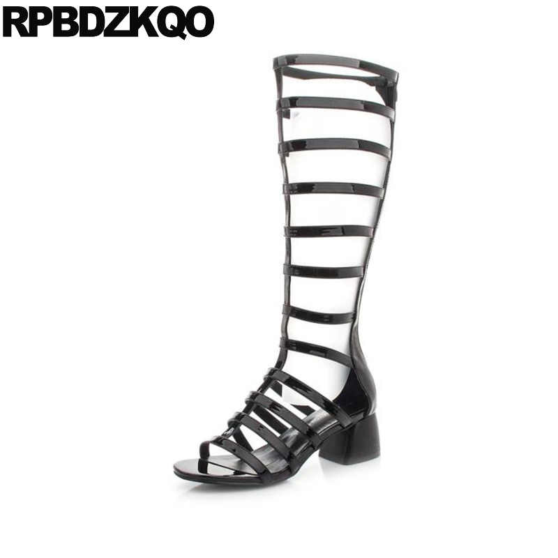 2c8d6d4219 Shoes Open Toe Knee High Long Women Sexy Boots Heel Black Retro Chunky  Gladiator Vintage 2017 Patent Leather Summer Fashion