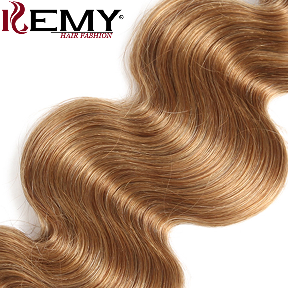 KEMY HAIR Pre-Colored 100% Human Hair Weaves Light Brown 4Pcs/pack Brazilian Body Wave Human Hair Bundles Non-Remy Extension