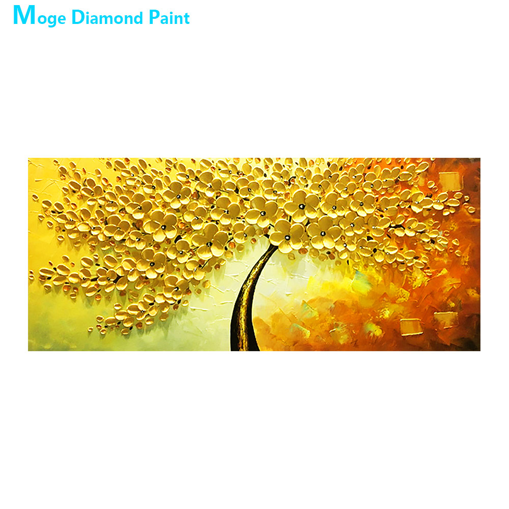 yellow tree Diamond Painting Full Round Oil painting style New DIY Sticking Drill Cross Embroidery 5D Home Decoration in Diamond Painting Cross Stitch from Home Garden
