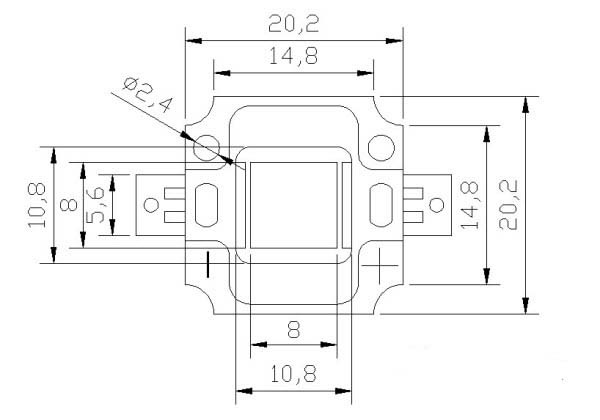 10W Square led package dimensions