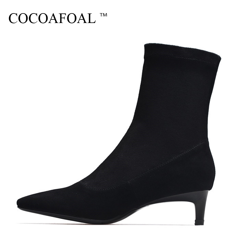 COCOAFOAL Woman Fashion Sexy Ankle Boots Autumn Winter Sheepskin High Heel Shoes Black Apricot Genuine Leather Pointed Toe Boots cocoafoal woman genuine leather ankle boots autumn winter 9 cm high heel shoes black apricot fashion sexy pointed toe boots 2018