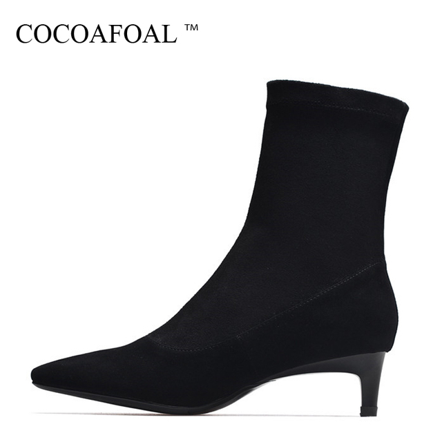 d0a2b027cbbc COCOAFOAL Woman Fashion Sexy Ankle Boots Autumn Winter Sheepskin High Heel  Shoes Black Apricot Genuine Leather Pointed Toe Boots