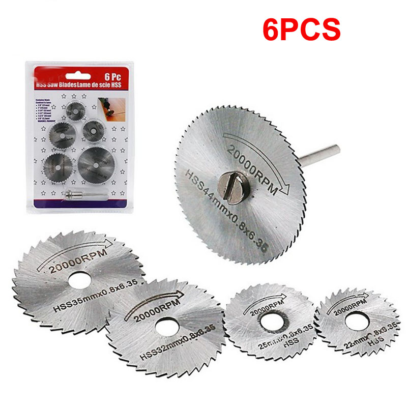 6pcs Hss 22/25/32/35/44mm Cutting Saw Blade With 3.2mm Rod Electric Drill Mini Slice Ultra Thin PVC Acrylic Cutting Disc Tool