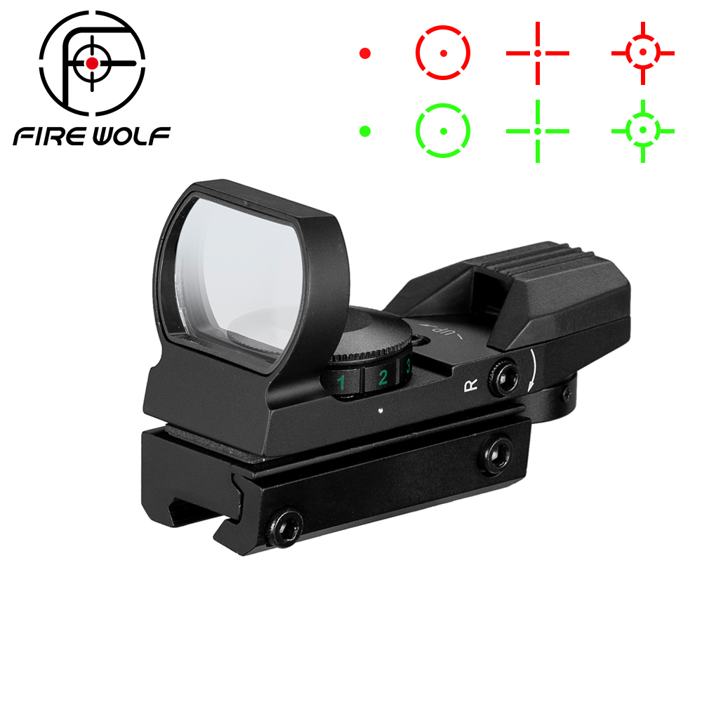 Hot 20mm / 11mm Rail Riflescope Hunting Optics Holographic Red Dot Sight Reflex 4 Reticle Tactical Scope Hunting Gun Accessories