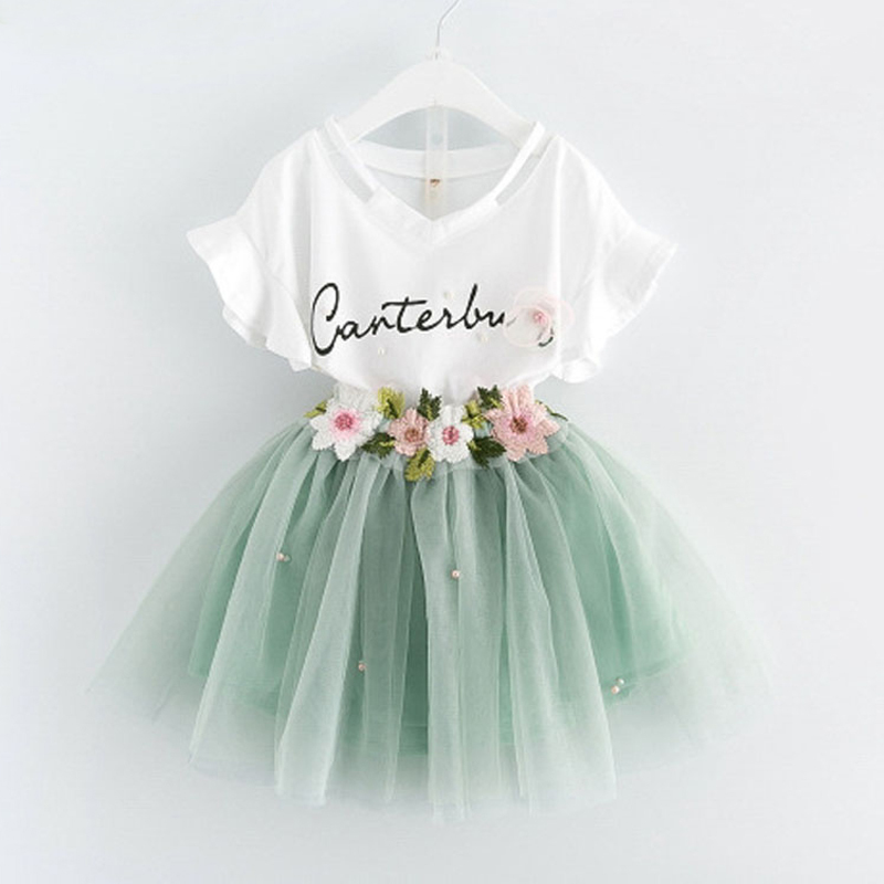 Summer Kids Clothes Girls Clothes Sets Printing Embroidery Pattern Cupcake Princess Dress For Children Girls Clothing 2017 new summer beach printing fruit pineapple pattern printing design for baby girls dress children headband dresses clothing