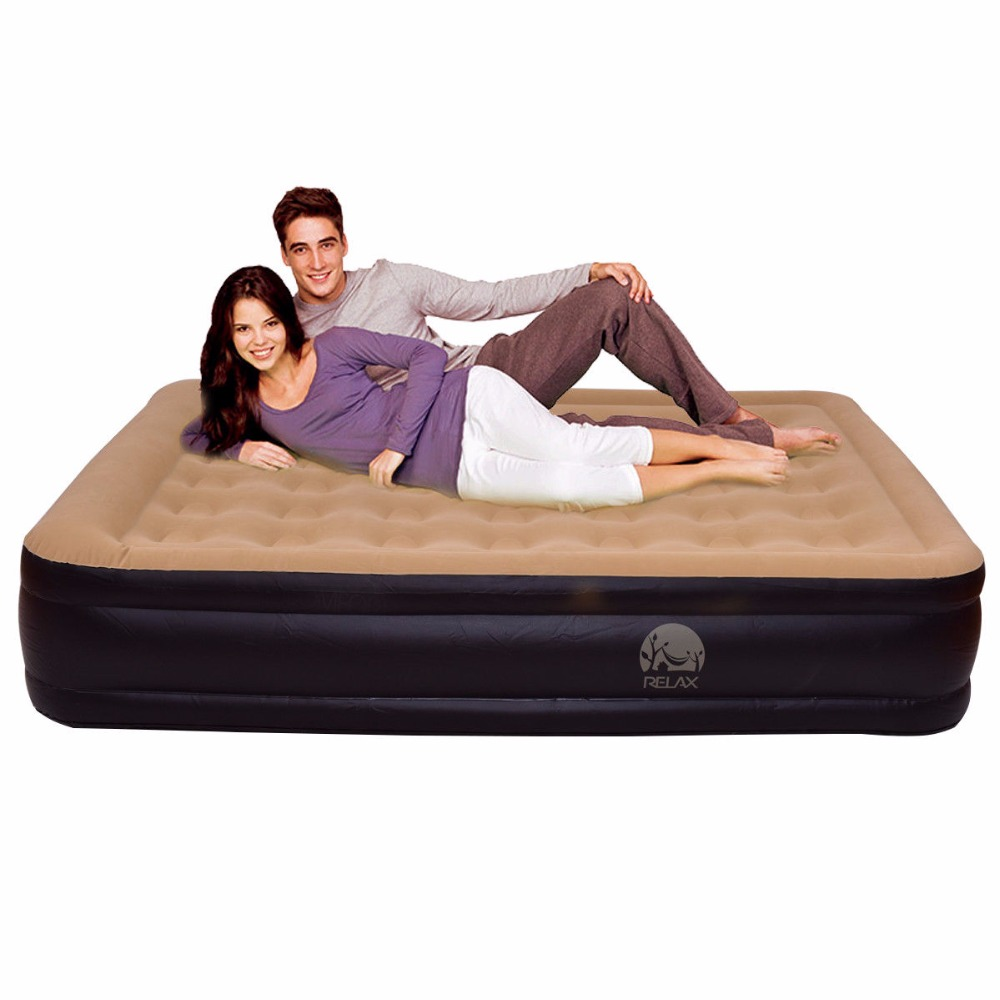 Goplus Queen Size Inflatable Bed Mattress Double Inflatable Raised 18 Air Bed Built In Electric Pump Portable Bed Set HW54763
