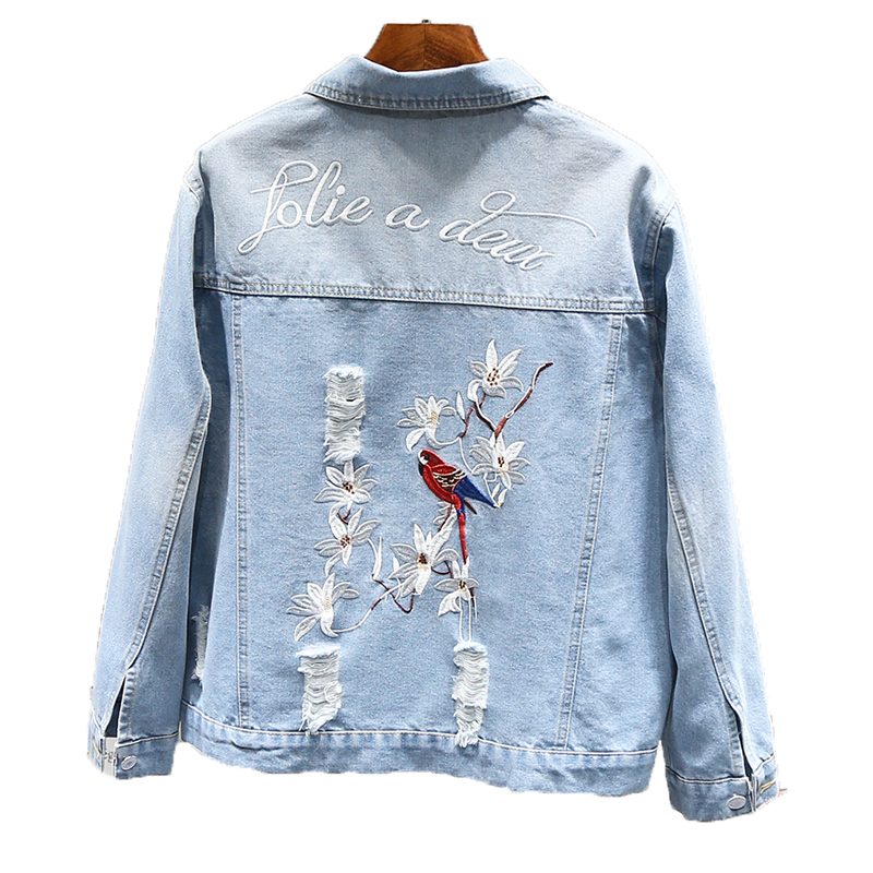 Spring Autumn Women Coat Fashion Floral Bird Embroidery Denim Jacket 2019 New Female Loose Long Sleeve Jean Outerwear Tops NO712 Price $66.80