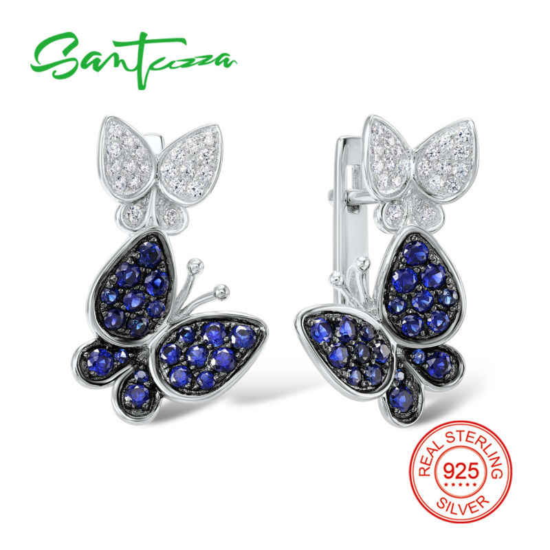 Silver butterfly Earrings for Women Blue White Cubic Zirconia CZ Stone Women Earrings  Pure 925 Sterling Silver Fashion Jewelry