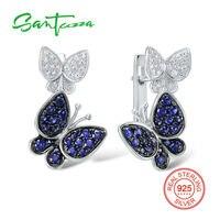 Silver Butterfly Earrings For Women Blue White Cubic Zirconia CZ Stone Women Earrings Pure 925 Sterling