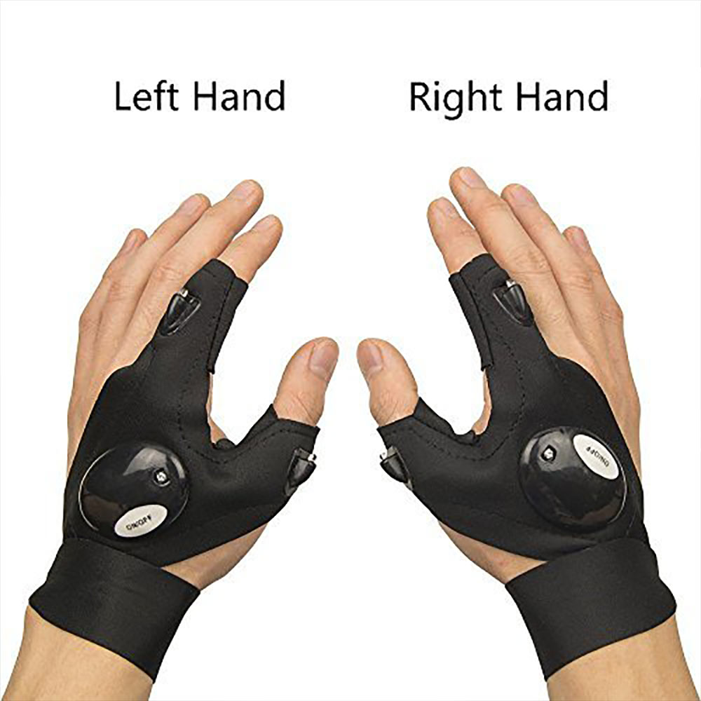 Fishing gloves with led light magic strap fingerless flashlight torch cover gloves outdoor survival camping hiking rescue tool